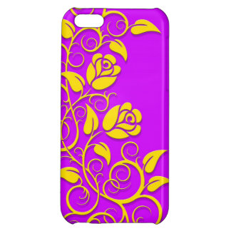 Swirling Roses, yellow on purple Case For iPhone 5C