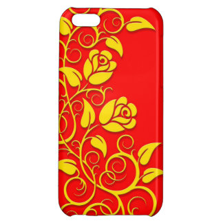 Swirling Roses, yellow on red iPhone 5C Covers