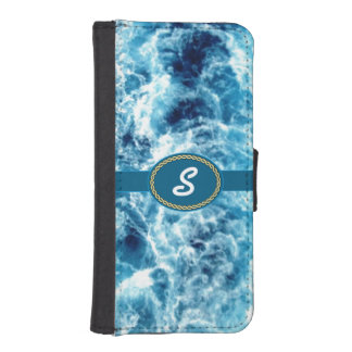 Swirling Sea Monogrammed iPhone 5 Wallet Case
