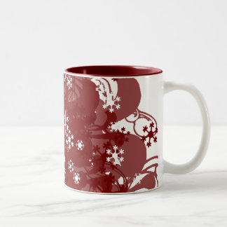 Swirling Snow Red Mug