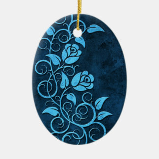 Swirling Stone Roses, blue Christmas Ornament