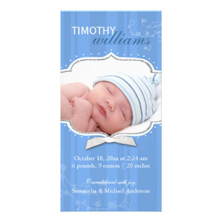 Swirling Stripe Baby Boy Photo Birth Announcements Photo Card Template