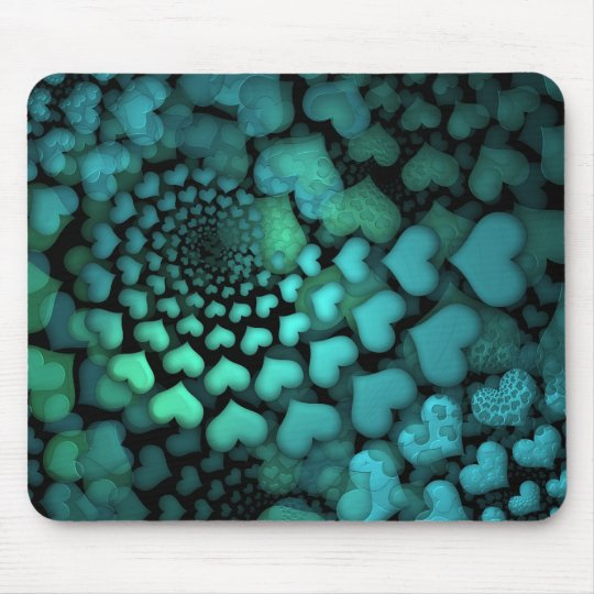 Swirling Turquoise Hearts Fractal Art Mouse Mat