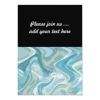 Swirling Water Abstract Art Turquoise 13 Cm X 18 Cm Invitation Card