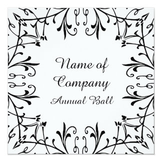 Swirls and Dots Annual Company Party Reunion 13 Cm X 13 Cm Square Invitation Card