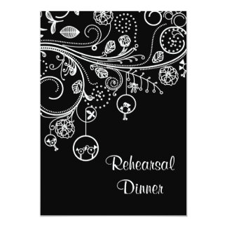 Swirls, birds black white wedding Rehearsal Dinner 13 Cm X 18 Cm Invitation Card