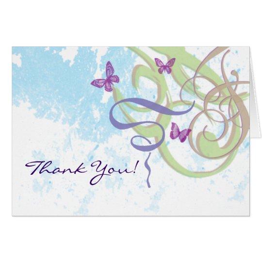 Swirls Butterflies Illustration Thank You! Card