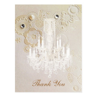 swirls chandelier vintage wedding thank you postcard