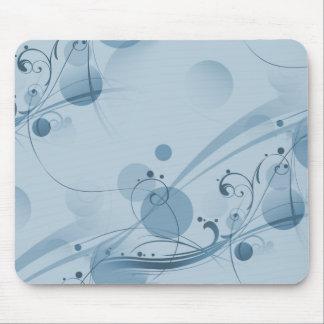 Swirls Circles Dots - Blue Mouse Pad