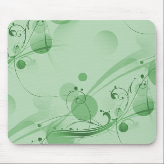 Swirls Circles Dots - Green Mouse Pad