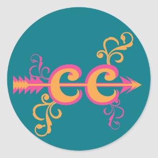Swirls Cross Country Runner Symbol Pink Orange Round Sticker