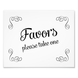 Swirls Favors Please Take One Wedding Sign Photo Print