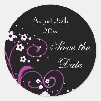 Swirls & Flowers Save the Date Envelope Seal Round Sticker