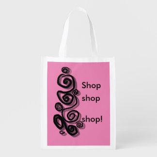 Swirls graphic pink background shop shop shop bag