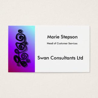 Swirls graphic, shadows colourful background b/car business card