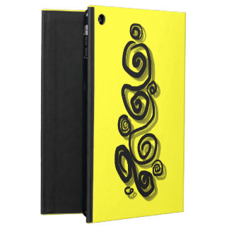 Swirls graphic with shadows in black bright yellow iPad air case