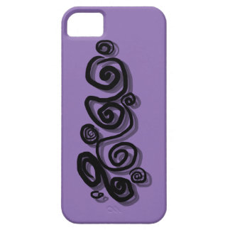 Swirls graphic with shadows in black purple Back/g iPhone 5 Cases