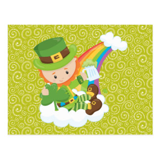 Swirls Leprechaun and Rainbow Postcard