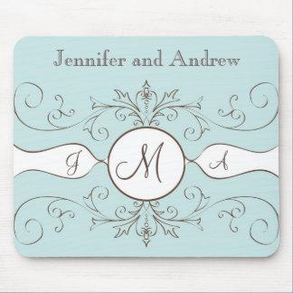 Swirls Monogram Bride Groom Names Wedding Gift Mouse Mat