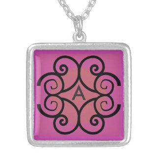 Swirls Monogram Square Pendant Necklace