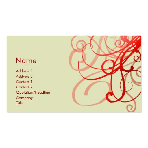 Swirls No. 0025 Pack Of Standard Business Cards