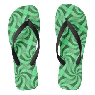 Swirls of Green Flip Flops