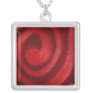 Swirls of nail polish silver plated necklace