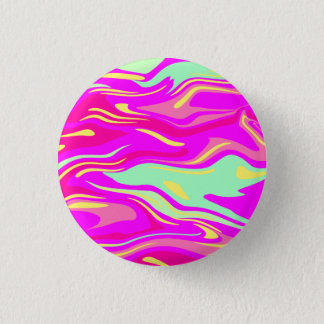 Swirls of Pink, Magenta, Mint Green and Yellow 3 Cm Round Badge