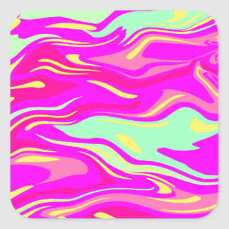 Swirls of Pink, Magenta, Mint Green and Yellow Square Sticker