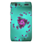 Swirls of pink roses on a green 3D fractal. Motorola Droid RAZR Cover