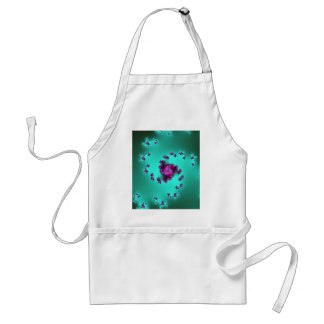 Swirls of pink roses on a green 3D fractal. Standard Apron