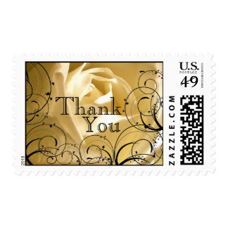 Swirls Rose Thank You Wedding Postage Stamps