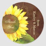 Swirls & Sunflower Wedding Thank You Favour Round Sticker