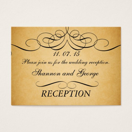 Swirls Vintage Wedding Reception Enclosure Card