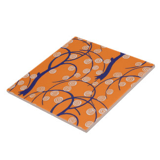 Swirls with Trees Retro Vintage Wallpaper Large Square Tile