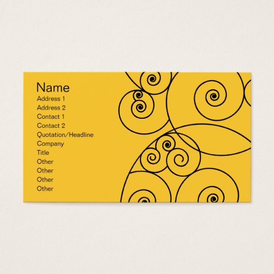 Swirls - Yellow Business Card