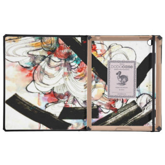 swirly abstract art watercolor drawing iPad case