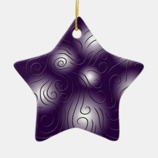 swirly and purple ceramic star decoration