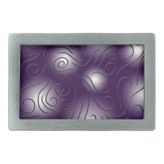 swirly and purple rectangular belt buckle