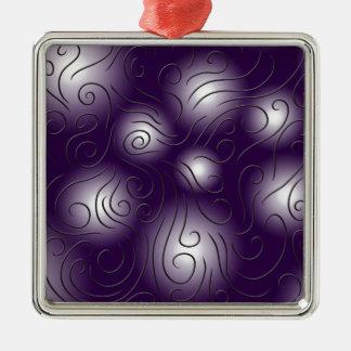 swirly and purple Silver-Colored square decoration