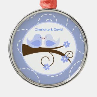 Swirly Bird (Blue) Custom Love Bird Keepsake Christmas Ornament