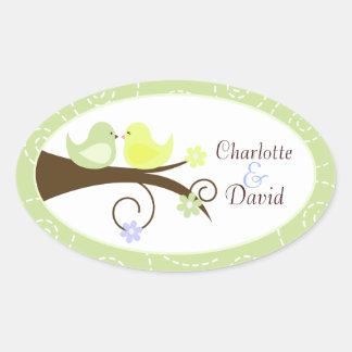 Swirly Bird (Green) Wedding Oval Favor Sticker