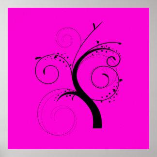 Swirly Black Tree on Pink Print