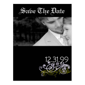 Swirly Black & White Save The Date Postcard