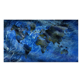 Swirly Blue Acrylic World Map Pack Of Standard Business Cards
