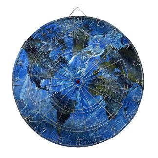Swirly Blue Arylic World Map Dartboard