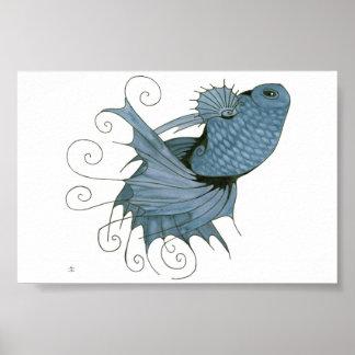 Swirly Blue Betta Poster