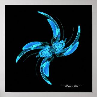 Swirly - blue Fractal Poster