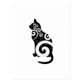 Swirly Cat Black Postcard