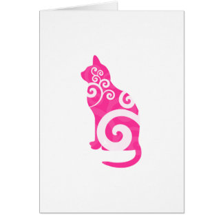 Swirly Cat Pink Greeting Cards